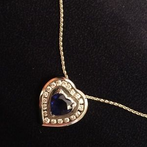 Jewelry - Sapphire and diamond heart Pendant